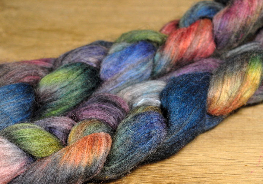 Polwarth / Alpaca / Silk Top for Hand Spinning - 'Subdued'