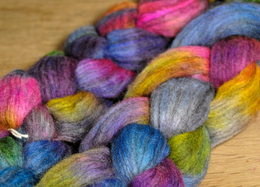 Polwarth / Alpaca / Silk Top for Hand Spinning - 'Evening Shades'