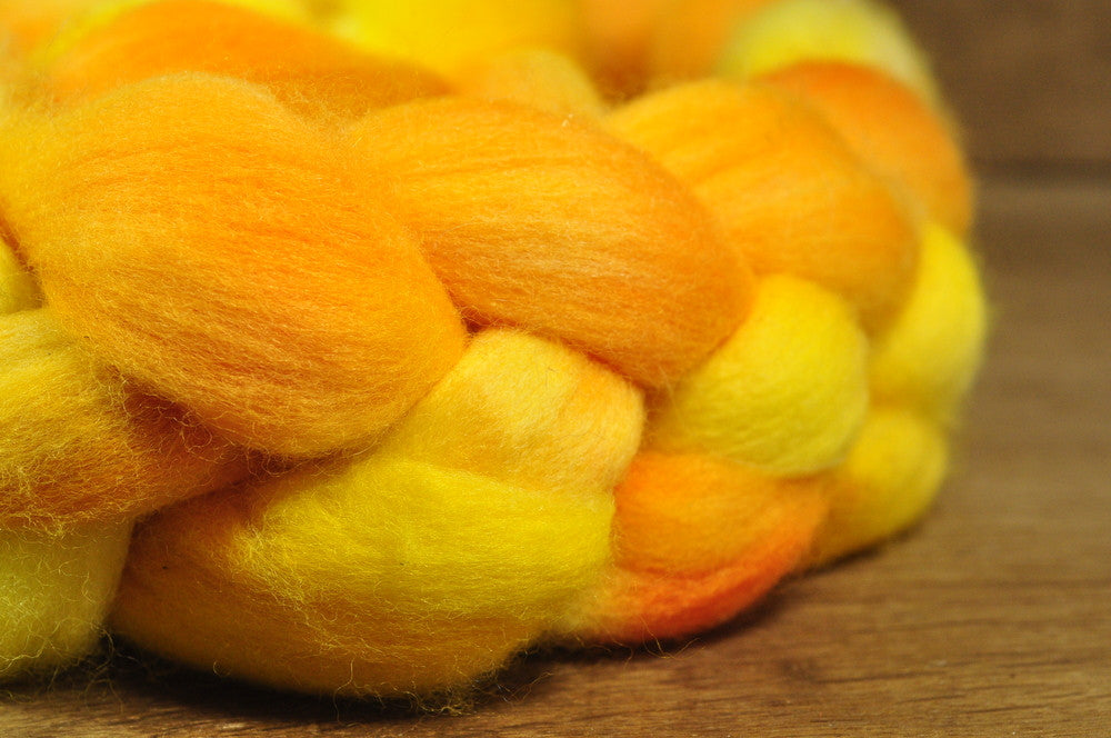 Polwarth Wool Top for Handspinning - 'Oranges and Lemons'