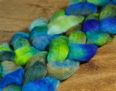 Hand Dyed Corriedale Wool Top - 'Pond'