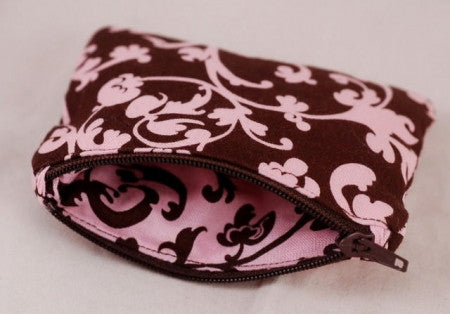 Tiny Zip Purse - Pink/Brown Vines