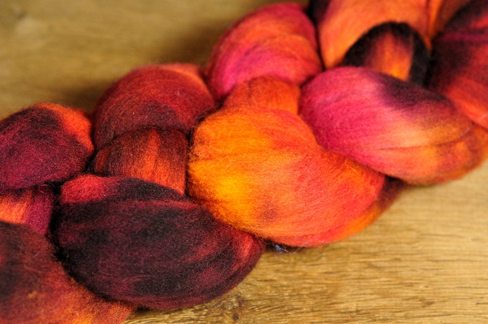80g Hand Dyed Rambouillet Wool Top for Handspinning or Felting - 'Burnt Orange'