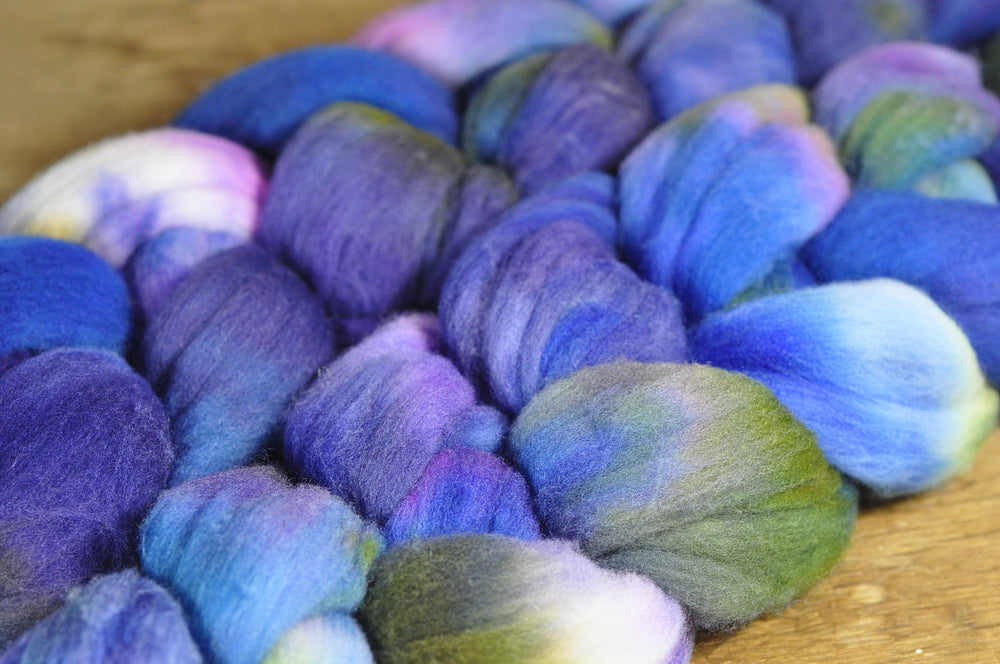 100g Hand Dyed Rambouillet Wool Top for Handspinning or Felting - 'Mediterranean'