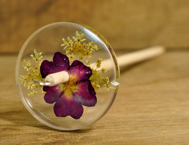 Resin Drop Spindle - Red Rose