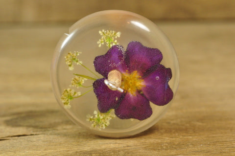 SECONDS Resin Drop Spindle - Red Rose and Cow Parsley