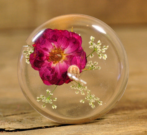 SECONDS Resin Drop Spindle - Rose and Cow Parsley