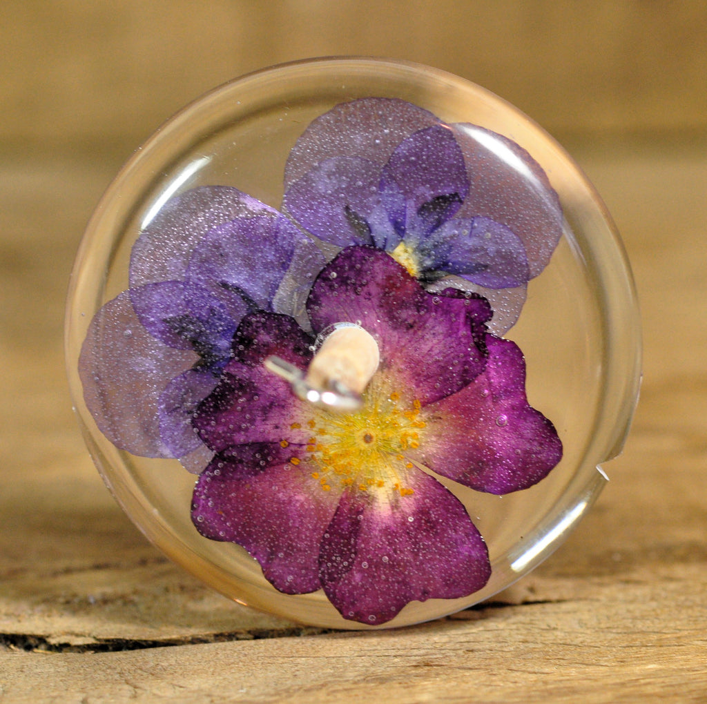 Top Whorl Resin Drop Spindle - Red Rose and Violas