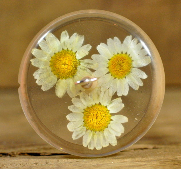 Plying Style Resin Drop Spindle - Daisies