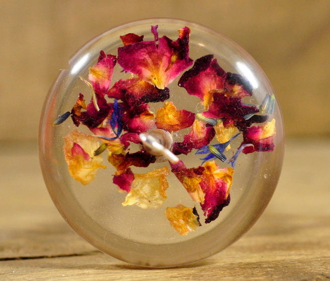 Resin Drop Spindle - Rose Potpourri (2)