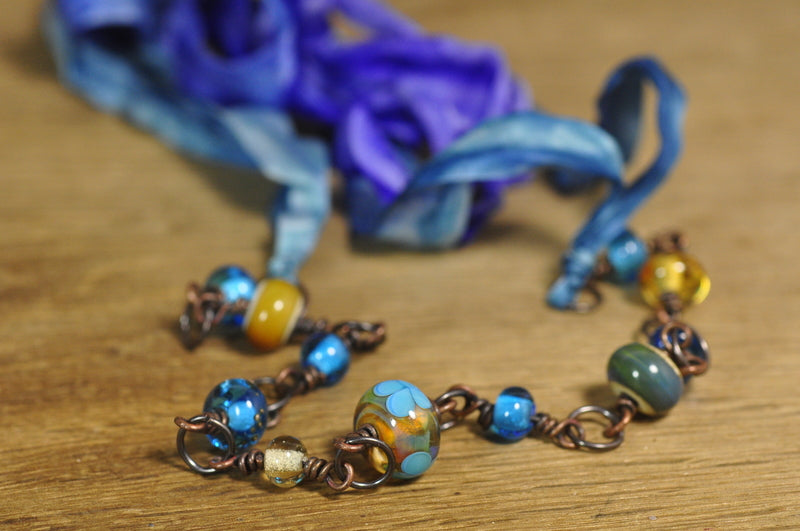 SALE! Glass and Copper Necklace Chain with Silk Ribbon - Blues and Greens