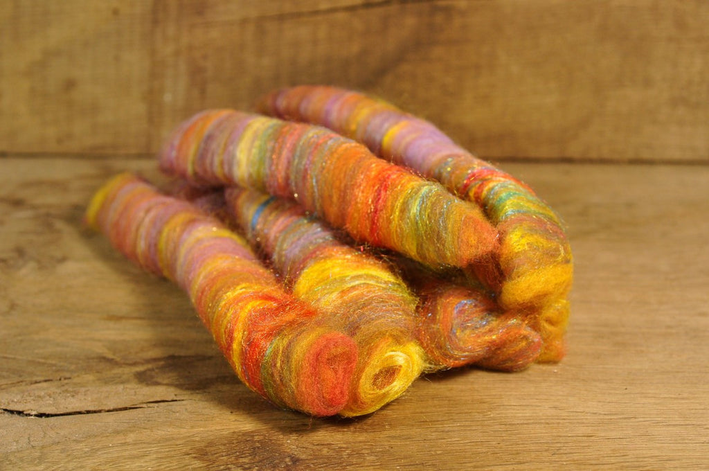 Carded Wool/Luxury Fibre Rolag Set - 'Autumn Zing'