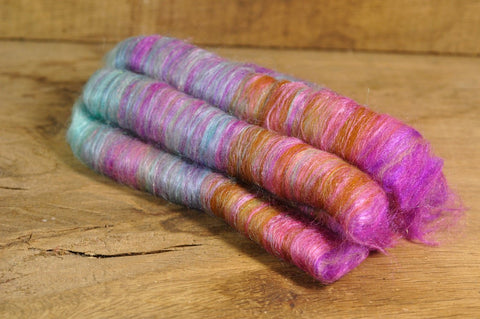 Carded Wool/Luxury Fibre Rolag Set - 'Muddy Rainbow'