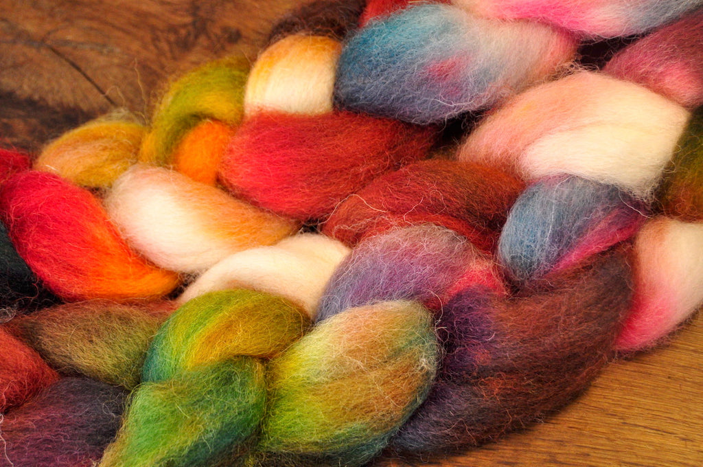 Hand Dyed Wool Top for Hand Spinning or Felting: Romney - 'Burnet'