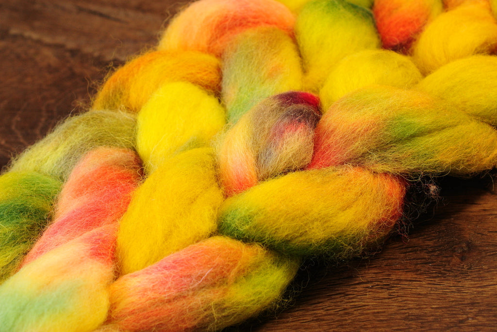 Hand Dyed Wool Top for Hand Spinning or Felting: Romney - 'Citrus'