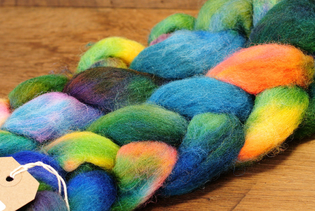 Hand Dyed Wool Top for Hand Spinning or Felting: Romney - 'Damselfly'
