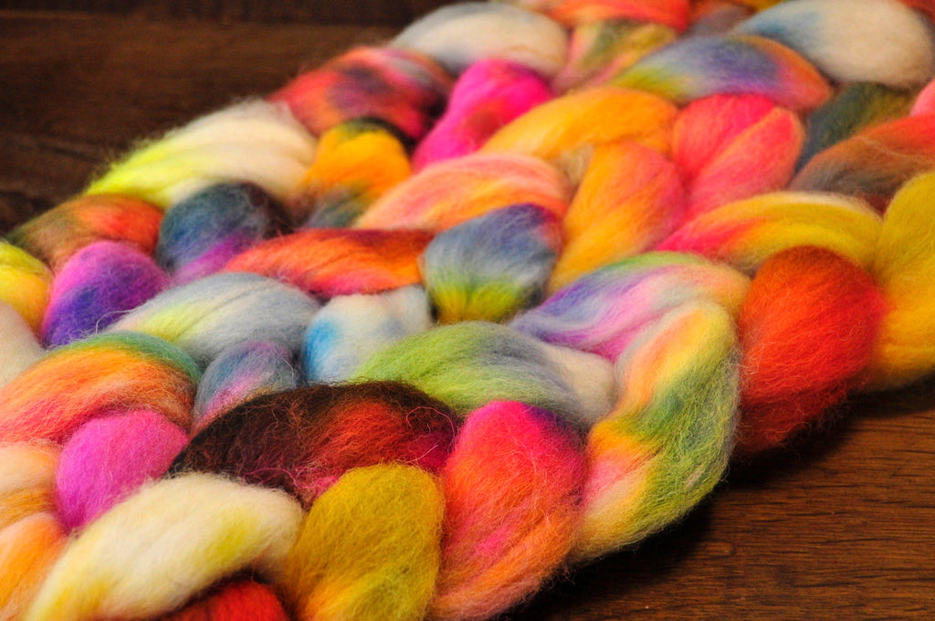 Hand Dyed Wool Top for Hand Spinning or Felting: Romney - 'Eclectic'