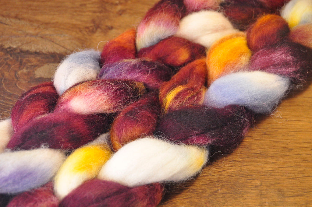 Hand Dyed Wool Top for Hand Spinning or Felting: Romney - 'Fritillary'