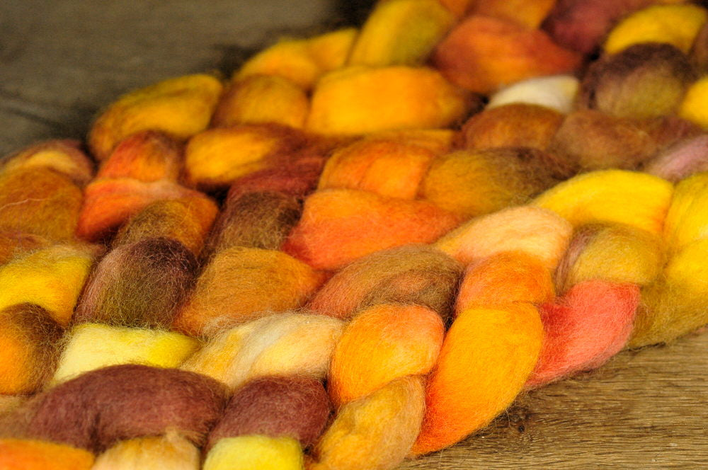 Hand Dyed Wool Top for Hand Spinning or Felting: Romney - 'Ginger Snaps