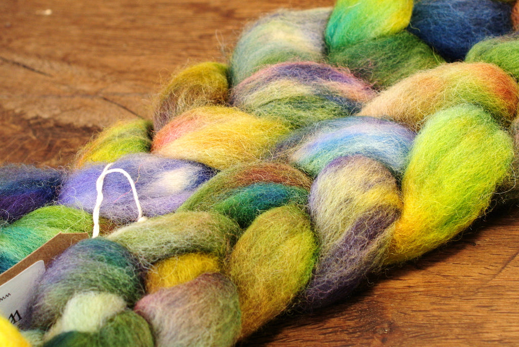 Hand Dyed Wool Top for Hand Spinning or Felting: Romney - 'Meadow Grass'