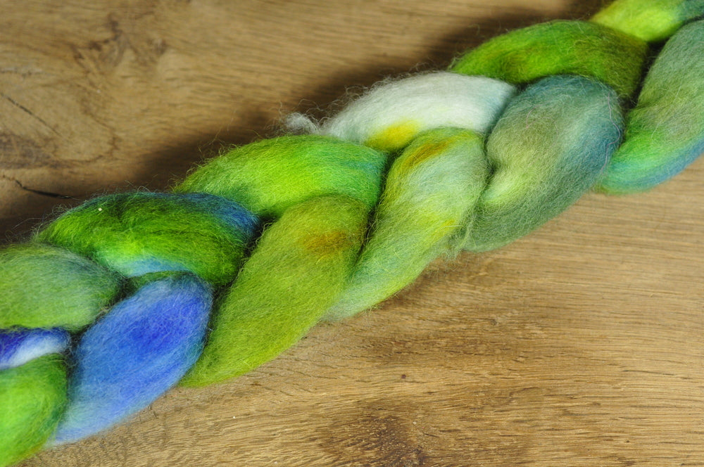 Hand Dyed Wool Top for Spinning or Felting: Romney - 'Spring Buds'