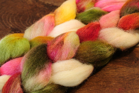 Hand Dyed Wool Top for Hand Spinning or Felting: Romney - 'Wild Rose'