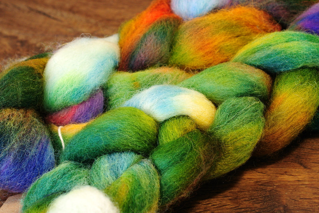 Hand Dyed Wool Top for Hand Spinning or Felting: Romney - 'Woodrush'