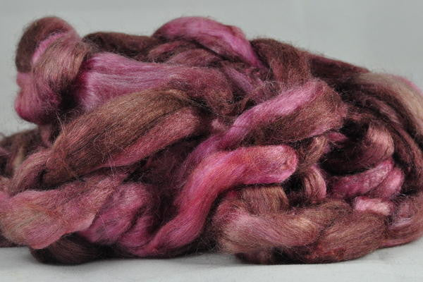 Dyed Tussah Silk Top - 'Rose Brown', 50g
