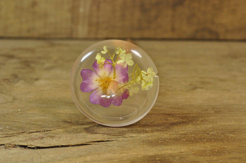 SECONDS Resin Drop Spindle - Rose and Guelder Rose
