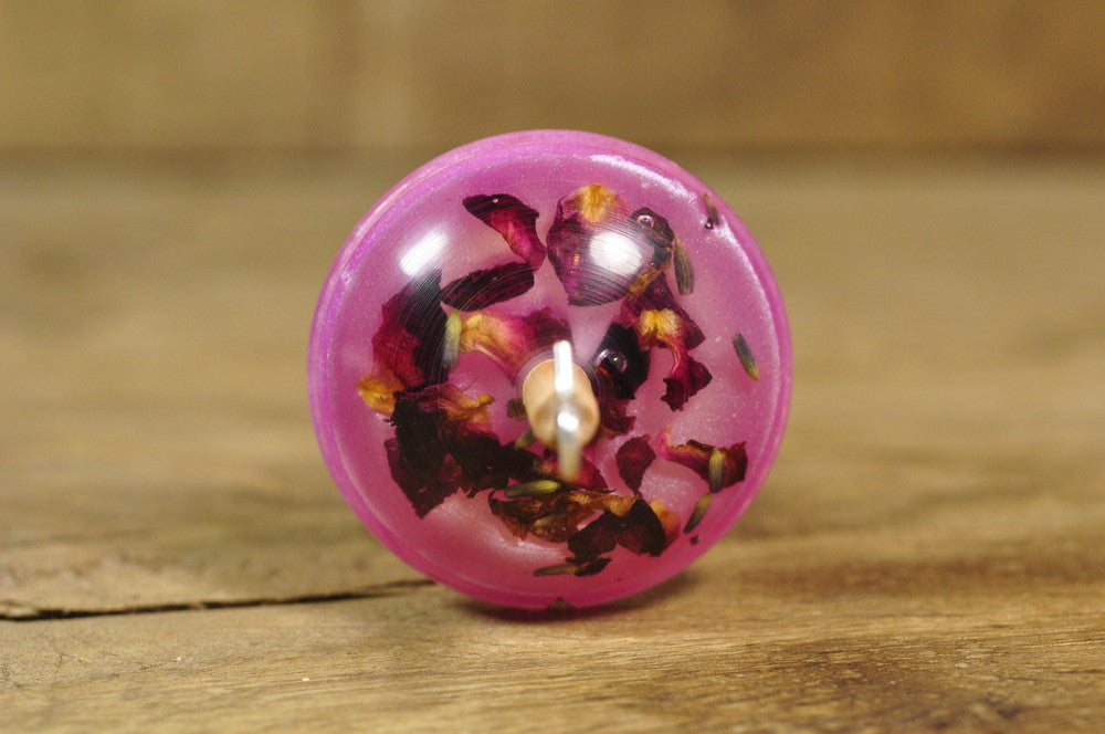 Lightweight Resin Drop Spindle - Rose Potpourri