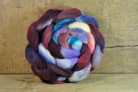 Hand Dyed Ryeland Wool Sliver - 'Burgundy Sunset'