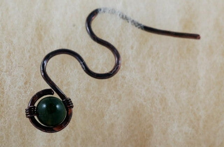 Cable Stitch Needle / Shawl Pin Green Indian Agate