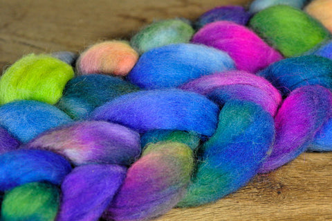 Hand Dyed Shetland Wool Top for Spinning or Felting - 'Delphinums'
