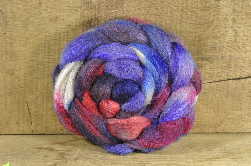 Hand Dyed Shetland Wool / Silk Top - 'Pulmonaria'