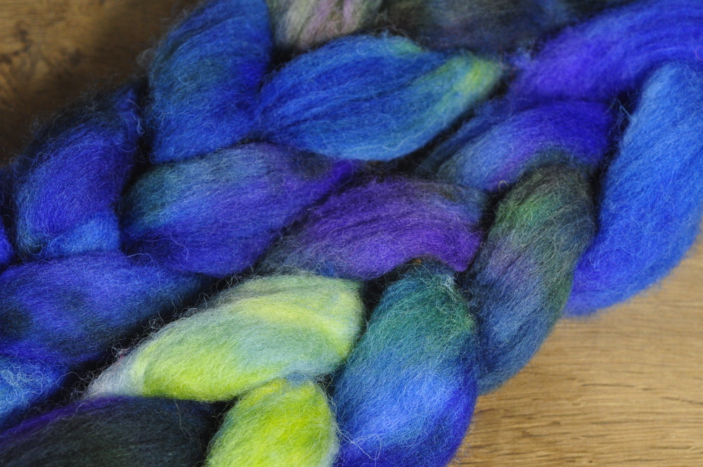 Hand Dyed Shetland Wool Top for Spinning or Felting - 'Sea Spells'