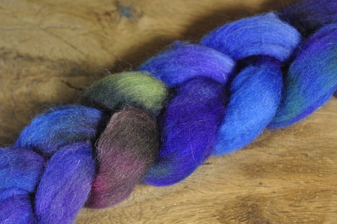 Hand Dyed Shetland Wool Top for Spinning or Felting - 'Sea Witch'