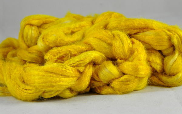 Dyed Tussah Silk Top - 'Mustard', 50g
