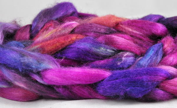 Dyed Tussah Silk Top - 'Purple Glow', 50g