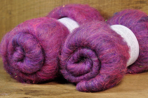 Carded Wool/Luxury Fibre Batt 50g - 'Sloe Gin'