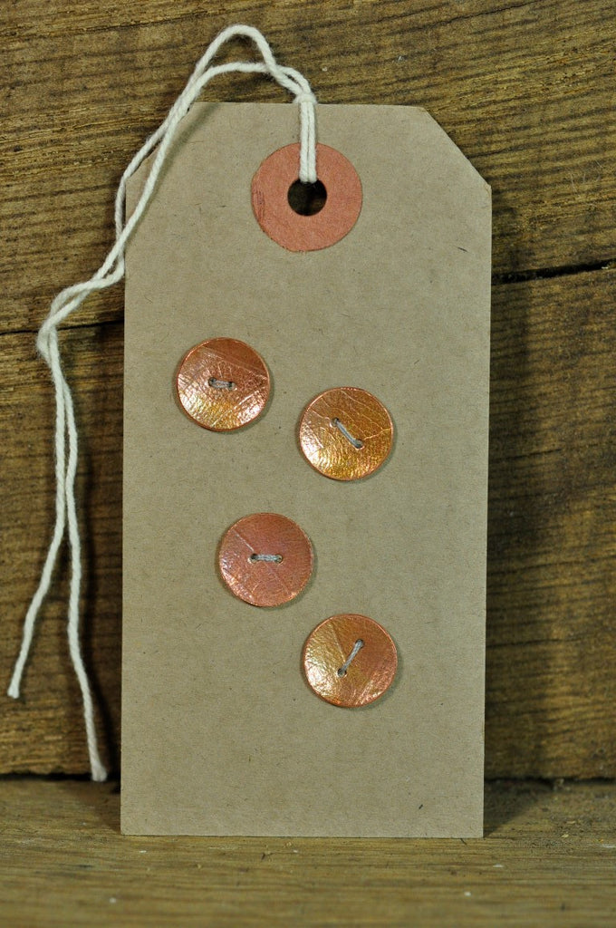 Handmade Copper Buttons - Leaf Pattern 12mm