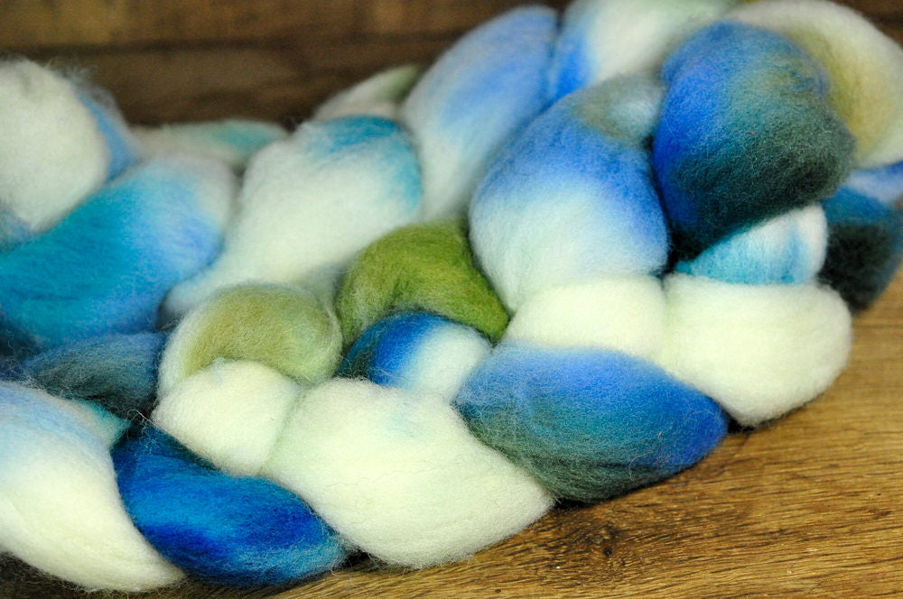 Southdown Wool Top for Hand Spinning and Felting - 'Blue Skies'