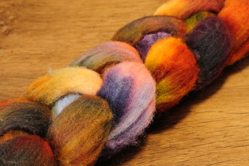 Southdown Wool Top for Hand Spinning and Felting - 'Calico'