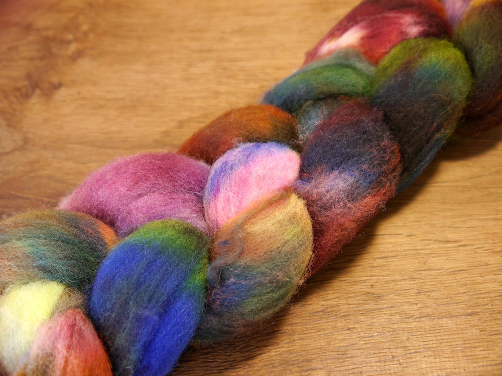 Southdown Wool Top for Hand Spinning and Felting - 'Dark Jewels'