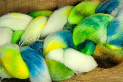 Southdown Wool Top for Hand Spinning and Felting - 'Micro Greens'