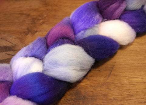 Southdown Wool Top for Hand Spinning and Felting - 'Periwinkle'