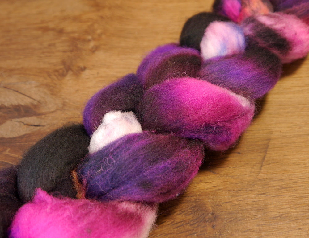 Southdown Wool Top for Hand Spinning and Felting - 'Purple Mood'