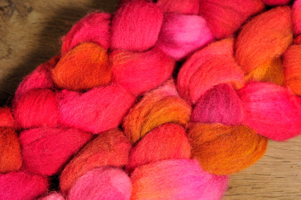 Southdown Wool Top for Hand Spinning and Felting - 'Red Berries'