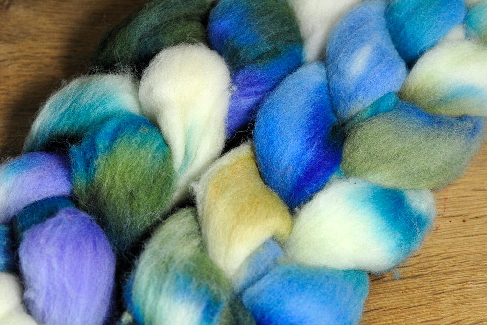 Southdown Wool Top for Hand Spinning and Felting - 'Summer Skies'