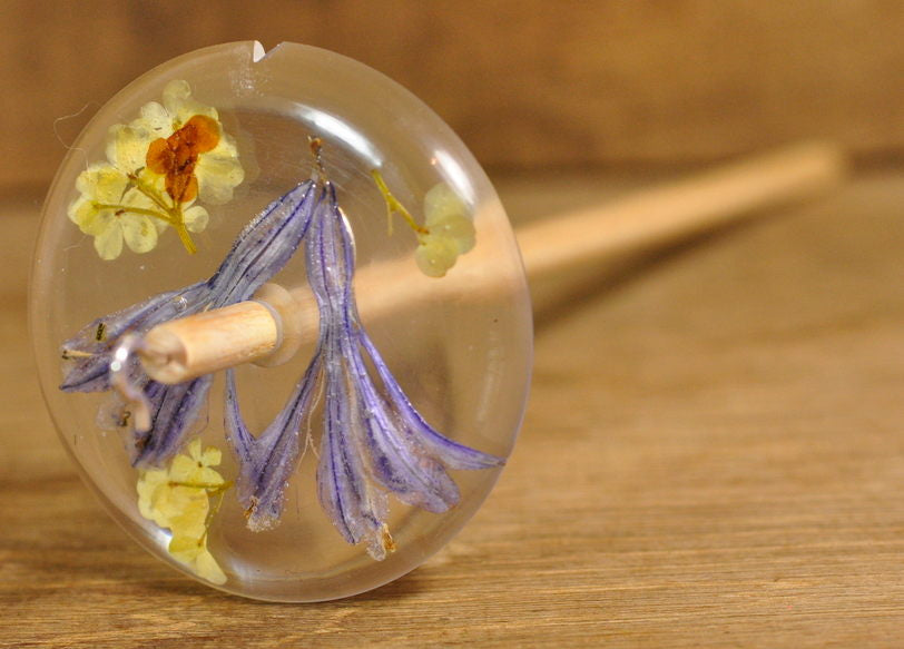 Resin Drop Spindle - Agapanthus and Guelder Rose