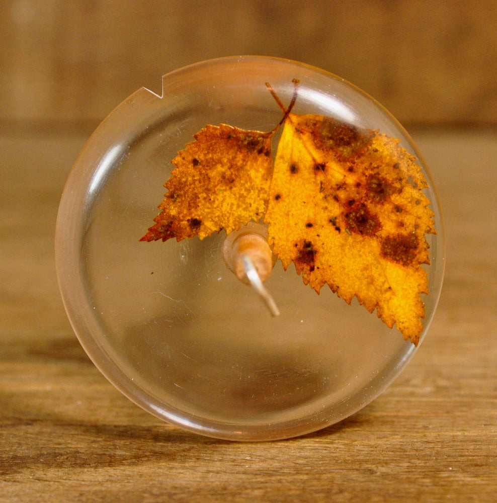 Resin Drop Spindle - Autumn Birch Leaves