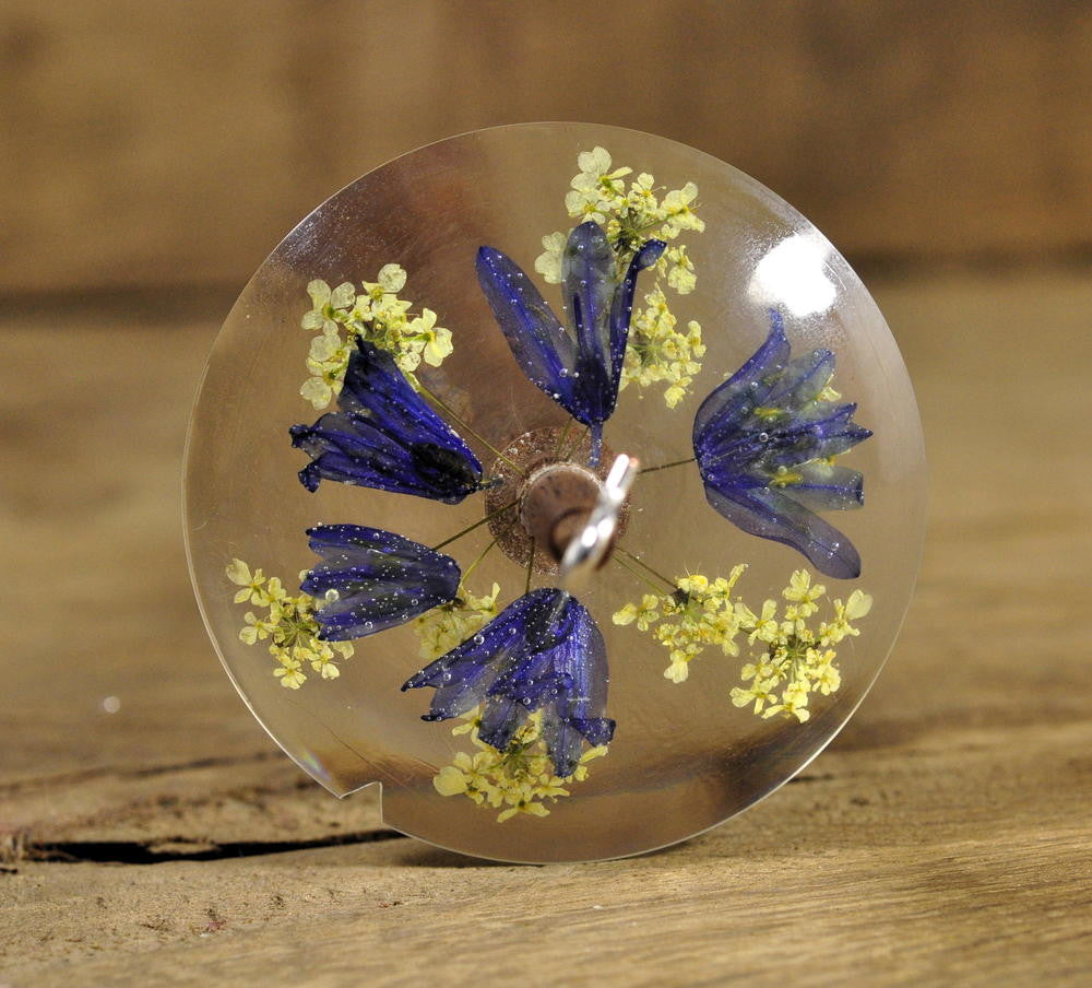 Lightweight Resin Drop Spindle - Wild Bluebells and Cow Parsley